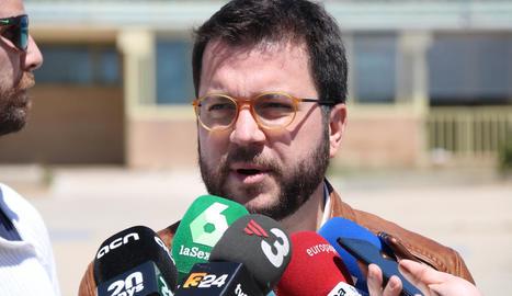 Aragonès, ahir, a la sortida de la presó de Soto del Real.