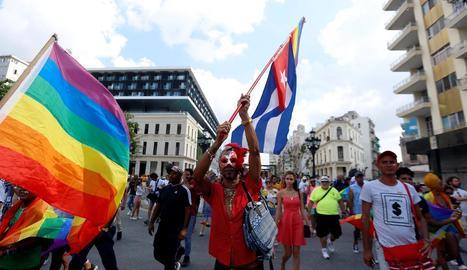 Manifestació pels drets del col·lectiu LGBTI a l'Havana.