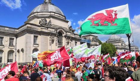 Manifestació per la independència de Gal·les, ahir, a Cardiff.