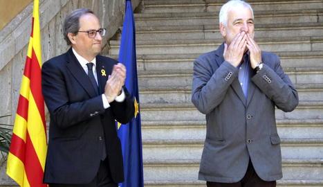 El president de la Generalitat, Quim Torra, rep el senador electe Jami Matamala.