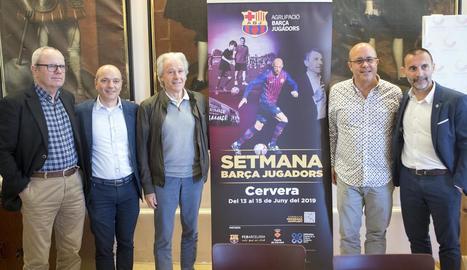 Un moment de la presentació, ahir a Cervera, de la Setmana Barça Jugadors.