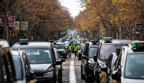 La 'guerra' del taxi, que continua latent, va provocar greus problemes de mobilitat a Barcelona al gener.