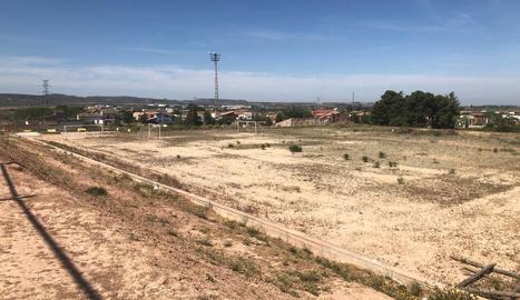 Imatge de la zona on es construirà el nou camp de futbol 7 de les Borges.