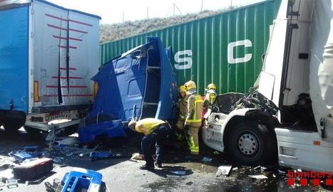 Imatge d'un dels dos accidents d'ahir a Jorba.