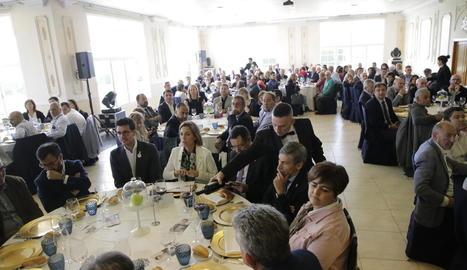 Postius i Chacón, ahir durant l'acte amb els empresaris lleidatans a la Finca Prats.