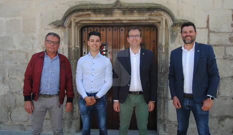D'esquerra a dreta: Joan Simeón (PP), Joel Bastons (PSC), Marc Solsona (JxC-M) i Engelbert Montalà (ER C).