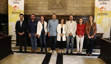 Imatge d'alcaldables de Girona abans d'un debat.