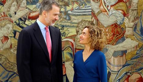 Felip VI i la presidenta del Congrés, Meritxell Batet, ahir, al Palau de la Zarzuela.