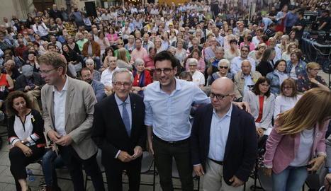 Postius, amb Trias i Boye a l'acte final de JxCat a la plaça Sant Francesc.