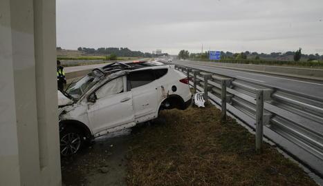 Imatge de l'accident a l'autovia A-22.