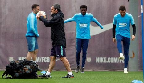 Ernesto Valverde va dirigir ahir l'últim entrenament abans de la final de Copa amb el València.