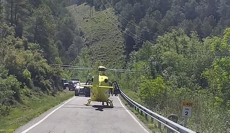 L'helicòpter del Sistema d'Emergències Mèdiques (SEM) que va traslladar la víctima a l'hospital lleidatà.