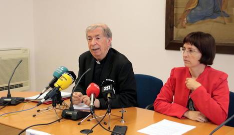 El bisbe de Lleida, Salvador Giménez, durant l'acte d'ahir.