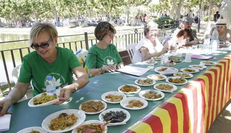 Una de les colles que ahir va participar en el concurs al Parc del Terrall de les Borges.