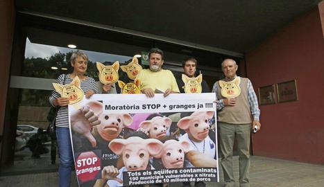 Imatge de la concentració de l'entitat ecologista Ipcena davant de la seu d'Agricultura a Lleida.