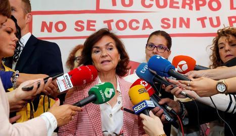 La vicepresidenta en funcions del Govern central, Carmen Calvo, ahir, a Móstoles.