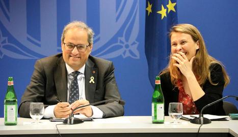 El president Torra, ahir, amb Meritxell Serret, delegada a Brussel·les.