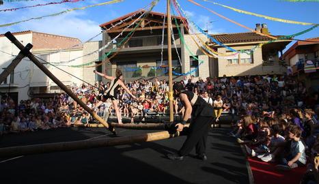 Imatge d'un dels espectacles celebrats ahir a la tarda a Torrelameu.