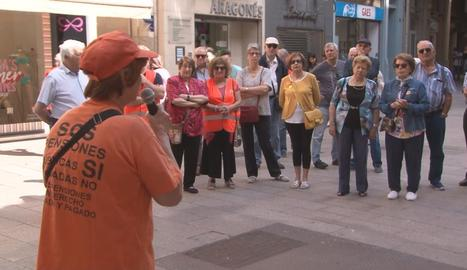 Imatge de l'assemblea d'ahir de la Marea Pensionista de Lleida.