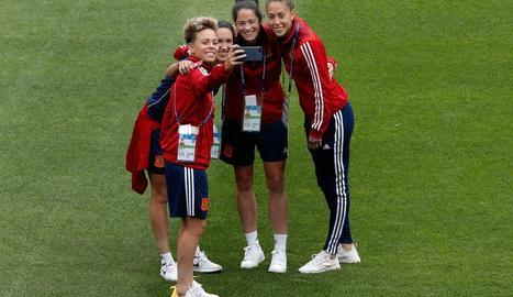 Sampedro, Meseguer, Torrejón i Gallardo, ahir a l'Stade Hainaut.