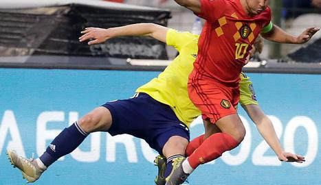 Hazard, nou jugador del Reial Madrid, ahir amb Bèlgica.