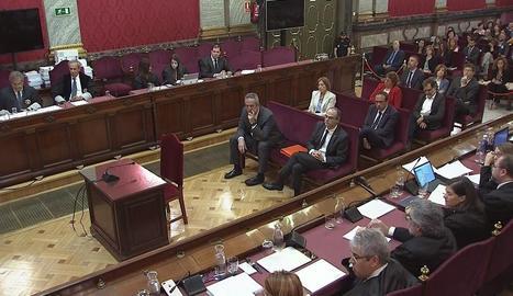 Alguns dels líders independentistes jutjats, ahir, durant l'exposició dels informes finals al Tribunal Suprem.
