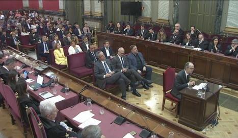 Vista de la banqueta dels acusats en el judici al 'procés' al Suprem.