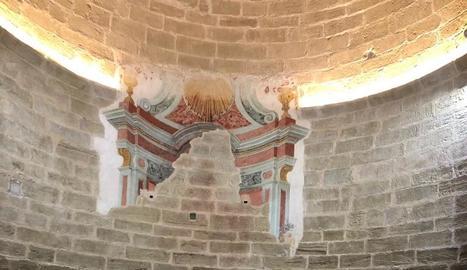 Treballs a l'absis de Sant Joan de Carratalà, a Aitona.