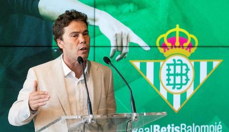 Rubi, ahir durant la presentació com a entrenador del Betis.