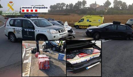 El conductor fugitiu va ser detingut finalment a Jorba després de xocar amb dos vehicles policials.