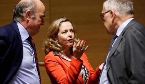 La ministra d'Economia, Nadia Calviño, a la reunió de l'Ecofin.