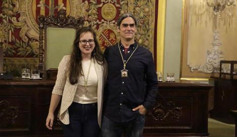 Sergi Talamonte i Elena Ferré, després de ser nomenats regidors.