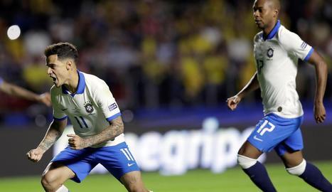 Coutinho celebra el gol marcat de penal.