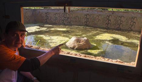 Eduard Viver observant la bassa pel vidre espia.