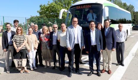 La presentació del bus exprés entre Alpicat i Lleida.