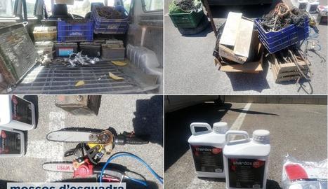 Vista del material robat i recuperat pels Mossos d'Esquadra.