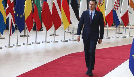 El president del Govern central, Pedro Sánchez, ahir, a Brussel·les.
