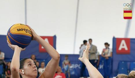 Yurena Díaz, durant el partit que obria ahir la competició.