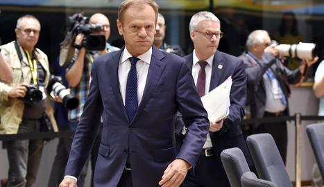 El president del Consell Europeu, Donald Tusk, ahir, a Brussel·les.