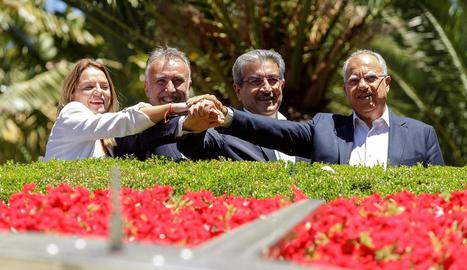 Els líders del PSOE, Podem Canàries, NC i ASG.