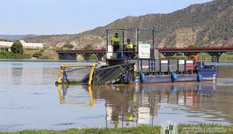 Una de les barcasses que s'utilitzen per retirar les algues.