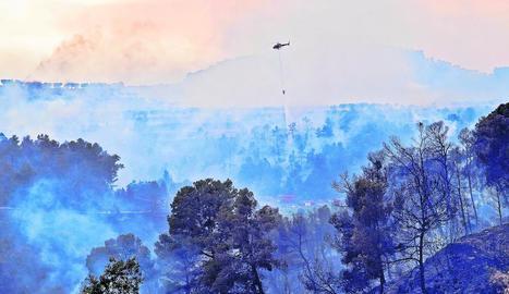 Imatge del foc originat entre Nalec i Rocafort de Vallbona, que va mobilitzar 16 dotacions terrestres i 11 mitjans aeris.