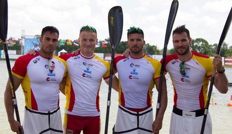 L'equip estatal que competirà avui als Jocs Europeus, amb Craviotto a la dreta de la imatge.