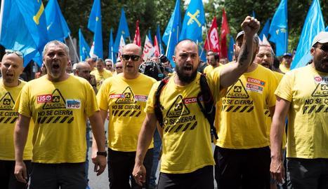 La marxa d'empleats de l'empresa va arribar ahir a Madrid.