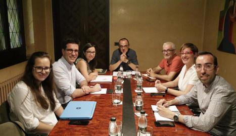 La primera junta de portaveus del mandat, celebrada ahir a la Paeria.