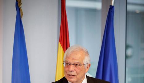 Josep Borrel ahir durant la seua compareixença a Brussel·les.