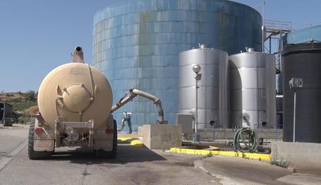 Una cisterna de purins, ahir a la planta de Tracjusa a Juneda.