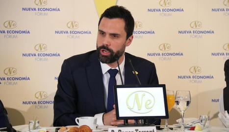 El president de la Generalitat, Quim Torra, en un moment de les jornades sobre desobediència civil.