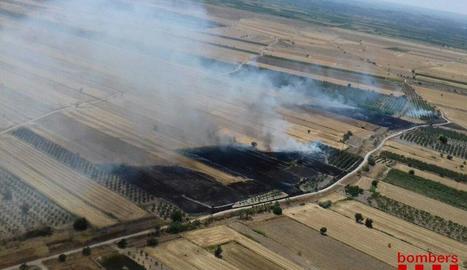 L'incendi de Belianes va afectar més de nou hectàrees de superfície agrícola en un camp de cereal.