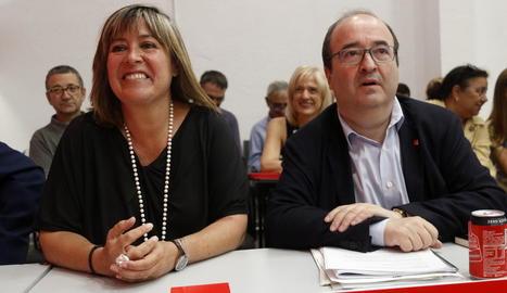 El primer secretari del PSC, Miquel Iceta, amb l'alcaldessa de l'Hospitalet, Núria Marín.